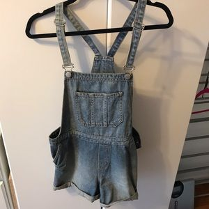 Topshop Denim Overall Shorts